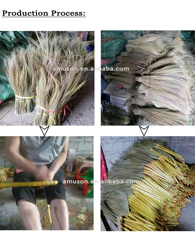 Hotsale üretici güvenli doğal mısır çim süpürgesi ahşap saplı