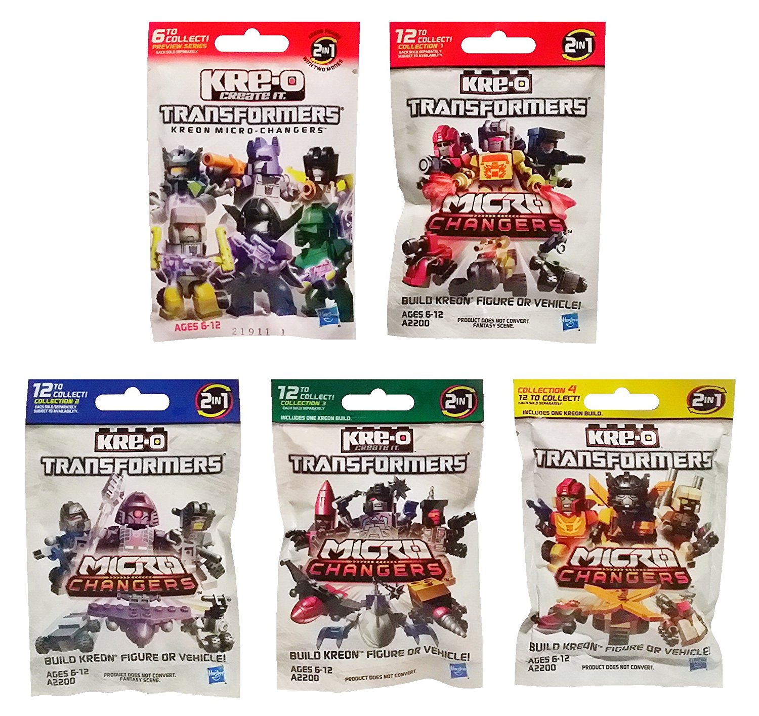 Kre-O Transformers Micro Changers 5 Pack Bundle includes: Preview Series & Collection 1, 2, 3 & 4 Mini Figure Blind Bag Mystery Packs (1 Pack of Each)