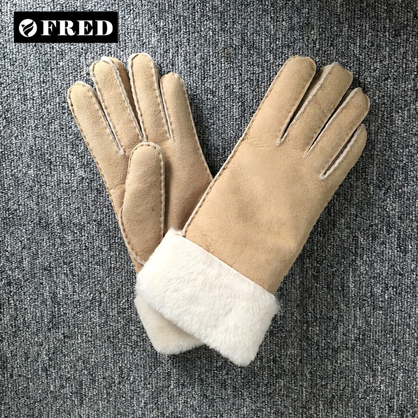 Lady's fashion genuine leather hand wear double face sheepskin driving gloves