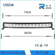 14pcs*10w(cr ee led) 29.5'' 140w offroad cr ee bar ha condotto la luce singola fila curvo led light bar per il camion