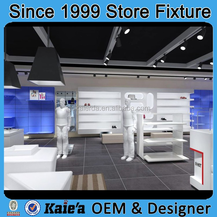 2016 Customized Fashion Garment Shoes Clothing Shop Interior ...