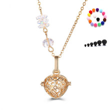 AB Crystal Round Charm Hollow Heart Shape Heart Natural Lava Stone Aromatherapy Essential Oil Diffuser Necklace