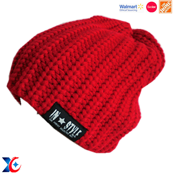 Welcome OEM and ODM 3D embroideried hand knitted hat