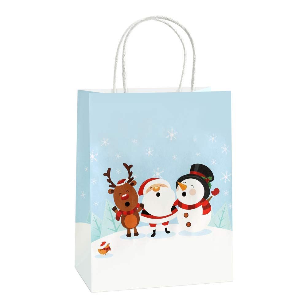 "Christmas Gift Bags 8x4.75x10"" BagDream Kraft Paper Gift Bags with Handles, Christmas Party Bags, Retail Bags, Merchandise, Craft Bags Pack of 25PCS Shopping Bags"