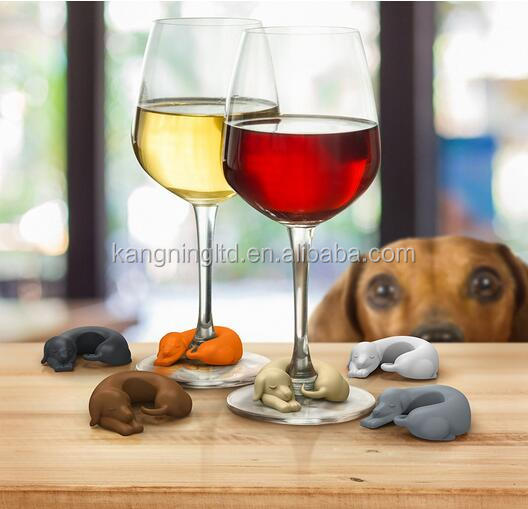 Silicone Dachshund Dog Wine Glass Markers
