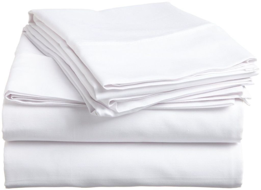 "Rajlinen White Solid 4 PCs Bed Sheet Set King Size Bland Durable Quality Genuine 600-Thread-Count (15"" Pockets) Super Soft Egyptian Cotton by"