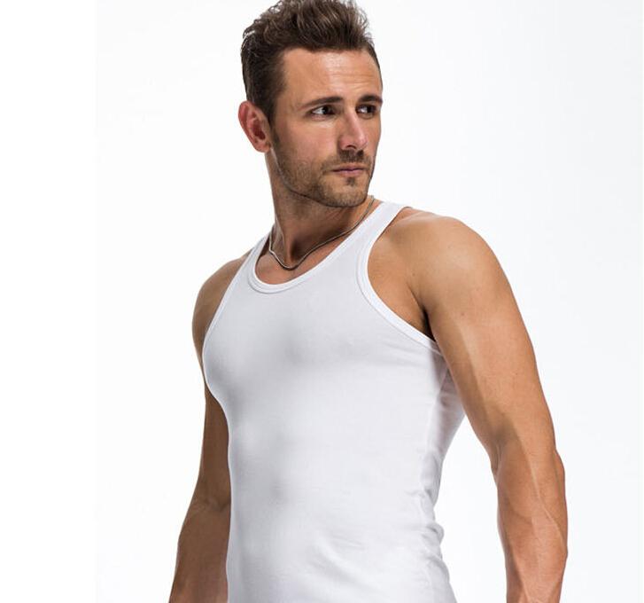 c5edf95e3ea5b7 Men s tight-fitting undershirt Elastic Tank Top Men Vest gym tank top