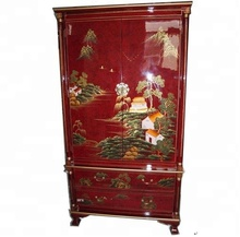 Rojo chinoiserie laca oriental asia art furniture home dormitorio ropero