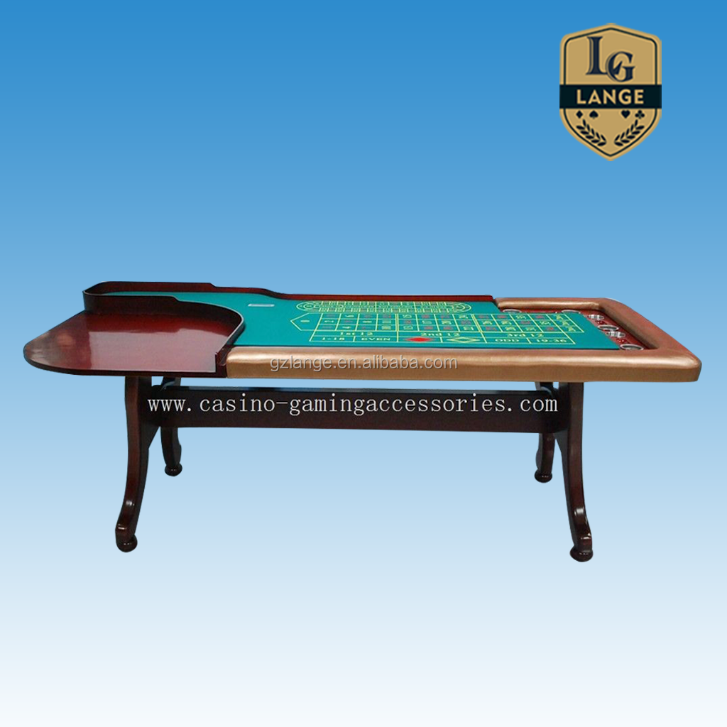 84 Inch H leg Solid Wood Roulette Table With Drink Cup