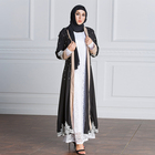 Islamic Ladies Women Blue Red Long Sleeve Maxi Dress Muslim Abaya With Belt