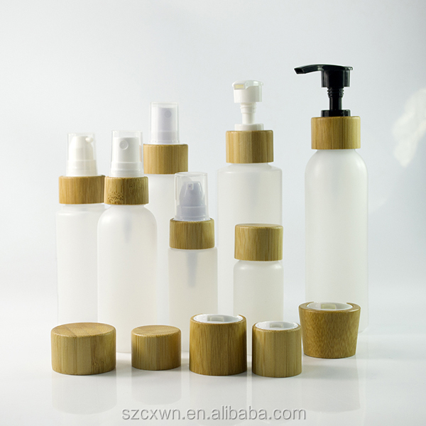 Wholesale empty natural cosmetic Bamboo wooden cosmetic plastic pump lotion or spray caps perfume PE/PET plastic bottle