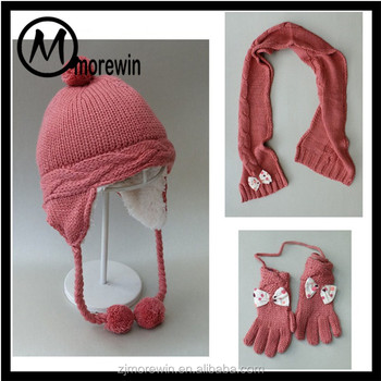 Morewin amazon supplier custom wine red color winter warm thick hat gloves  and scarf set for d9bcdc68fe9