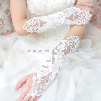 Purple Red Pretty Liqued Sequined Fingerless Long Wedding Glove White Pearl Beaded Satin Bridal