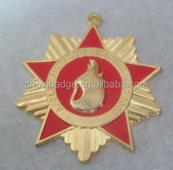 Name badges / metal gold pentagram badges /custom patriotism pin badges