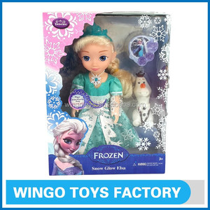 New arrival musical & flashing light frozen snow glow elsa doll