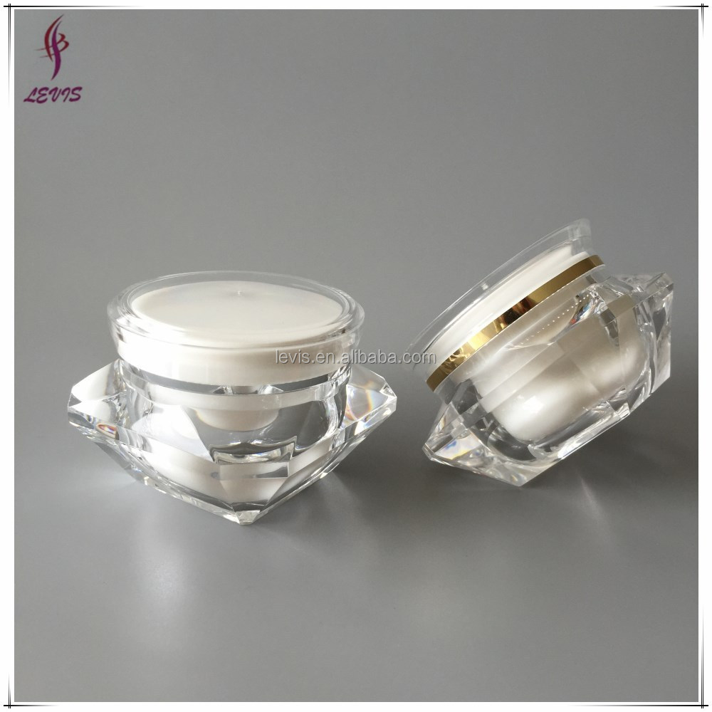 Luxury fancy crystal acrylic diamond cosmetic jar 50 ml