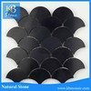 Polished pure black fish scale mosaic tile for floor