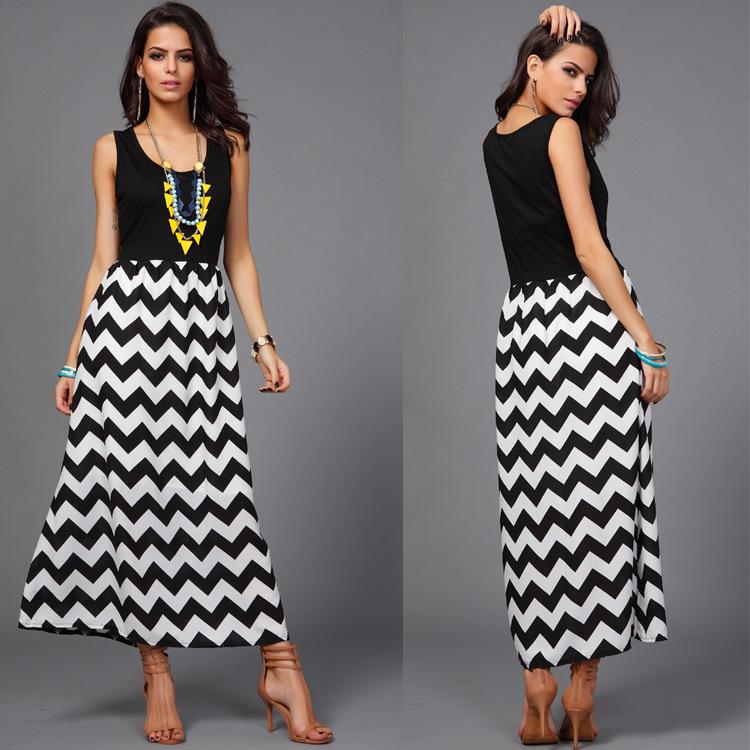 c739d7b1f Vestidos largos de moda a rayas – Vestidos baratos