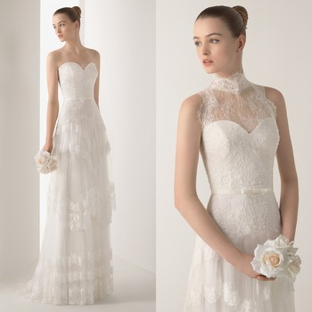 New Collection A-line Wedding Dress With High Neck Lace Jacket ...