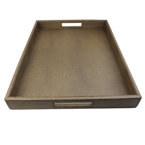 Wholesale PU PVC Leather MDF Serving Tray For Hotel