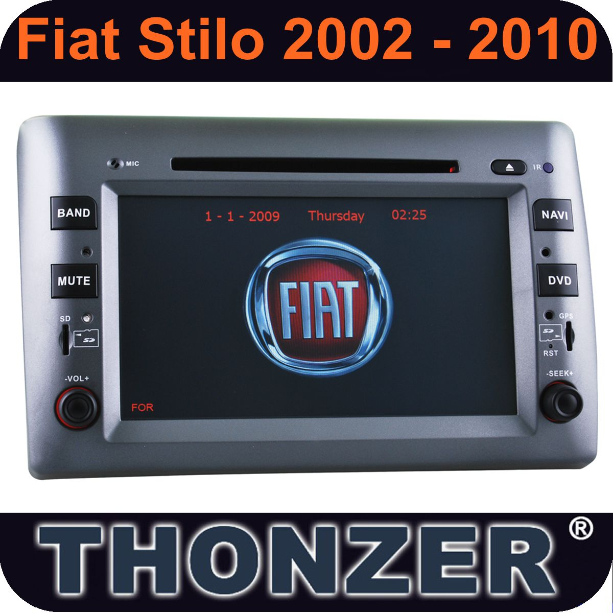 8 inch 2 din car dvd fiat stilo car radio player gps navigation(TZ-8807GB)