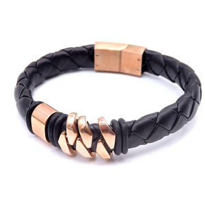 Retro Magnetic rose gold Clasp Stainless Steel Wrap Real Leather Bracelets Bangle Wholesale PZB341