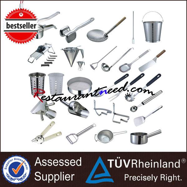 Restaurante de cocina de acero inoxidable herramientas for Lista utensilios para bano