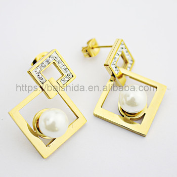 fake pearl earrings cheap beautiful geometry girls jewelry