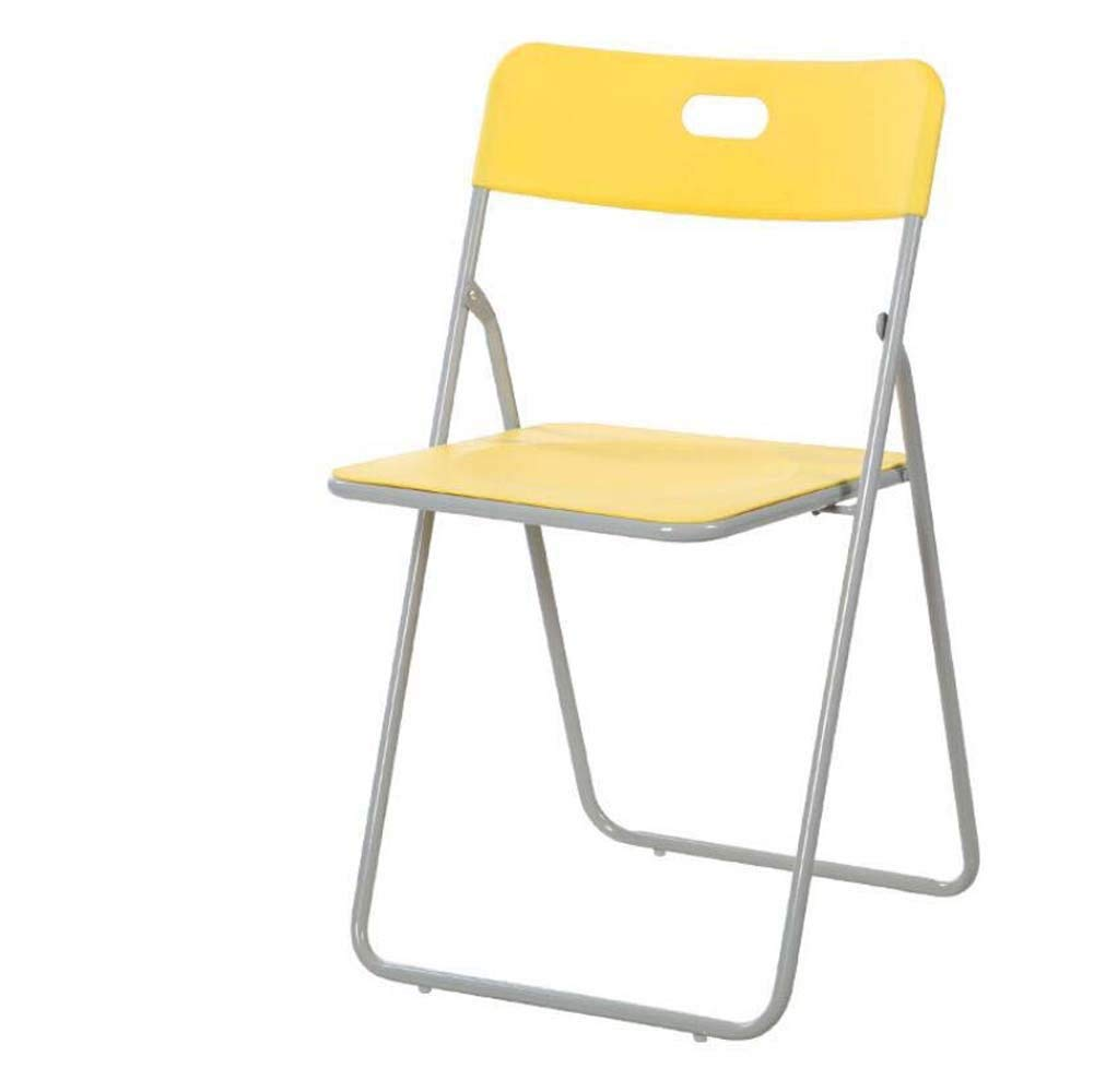 Household Back Folding Chairs Color Plastic Outdoor Leisure Chair Portable Training Office Computer Chairs Conference Chairs Desk Chair (Color : Yellow)