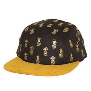 6e0759073d5de oem printing pineapple pattern five panel hat with suede brim