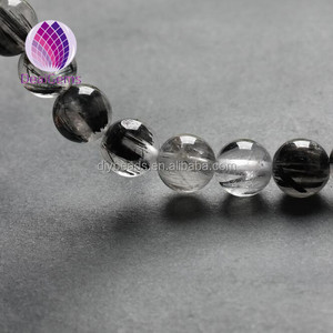 10mm natural black quartz rutilated beads gemstone round loose beads