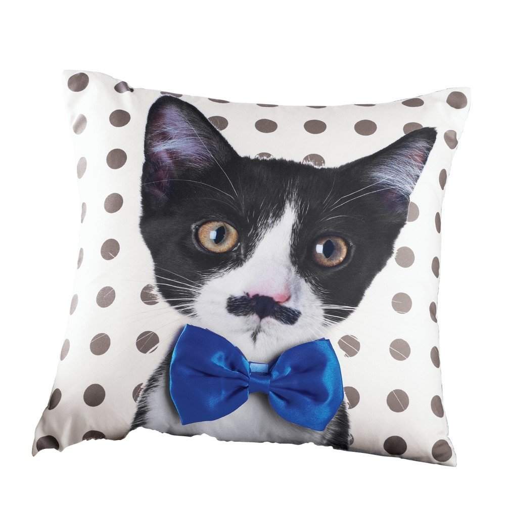 9ca6661bdd5e1 Get Quotations · Bow Tie Cat Polka Dot Accent Pillow