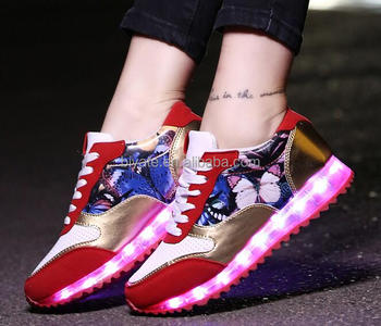 7 Colors LED Luminous Unisex Sneakers USB Charging Light Colorful