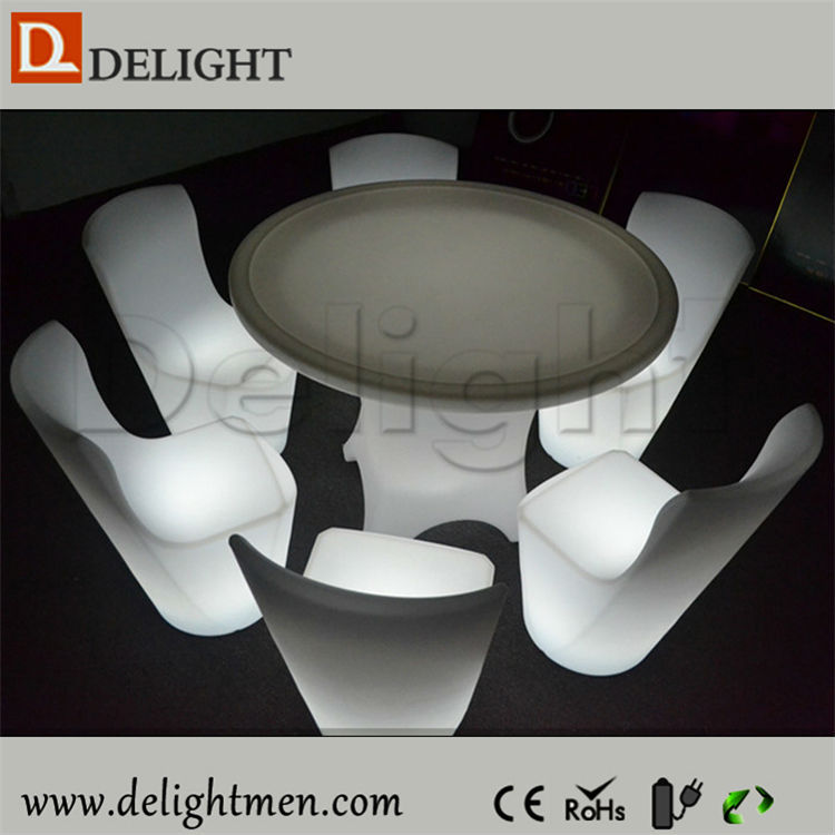 Wholesale luminous rechargeable color changing remote control restaurant furniture led quarter round table