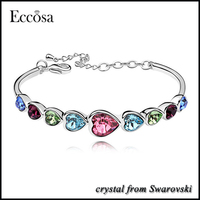 Eccosa Jewellery Made with Crystals from Swarovski Heart Shaped Charm Bracelet