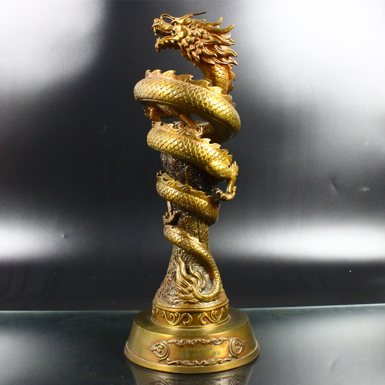 High quality Chinese bronze dragon statue customized art trophy metal sculptures