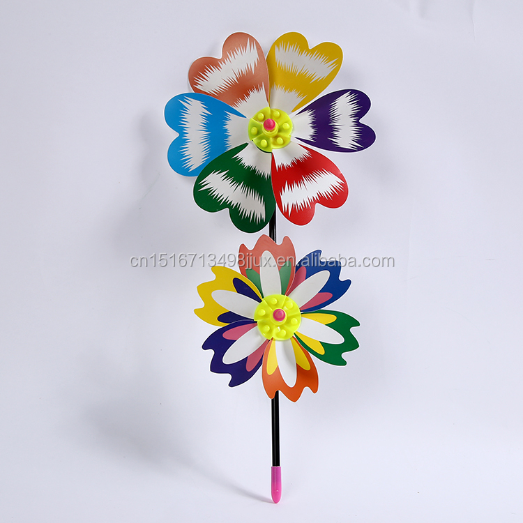 Dual flowers Colorful Outdoor garden advertising windmill Plastic party Wedding Park decoration DIY pinwheel toys china factory