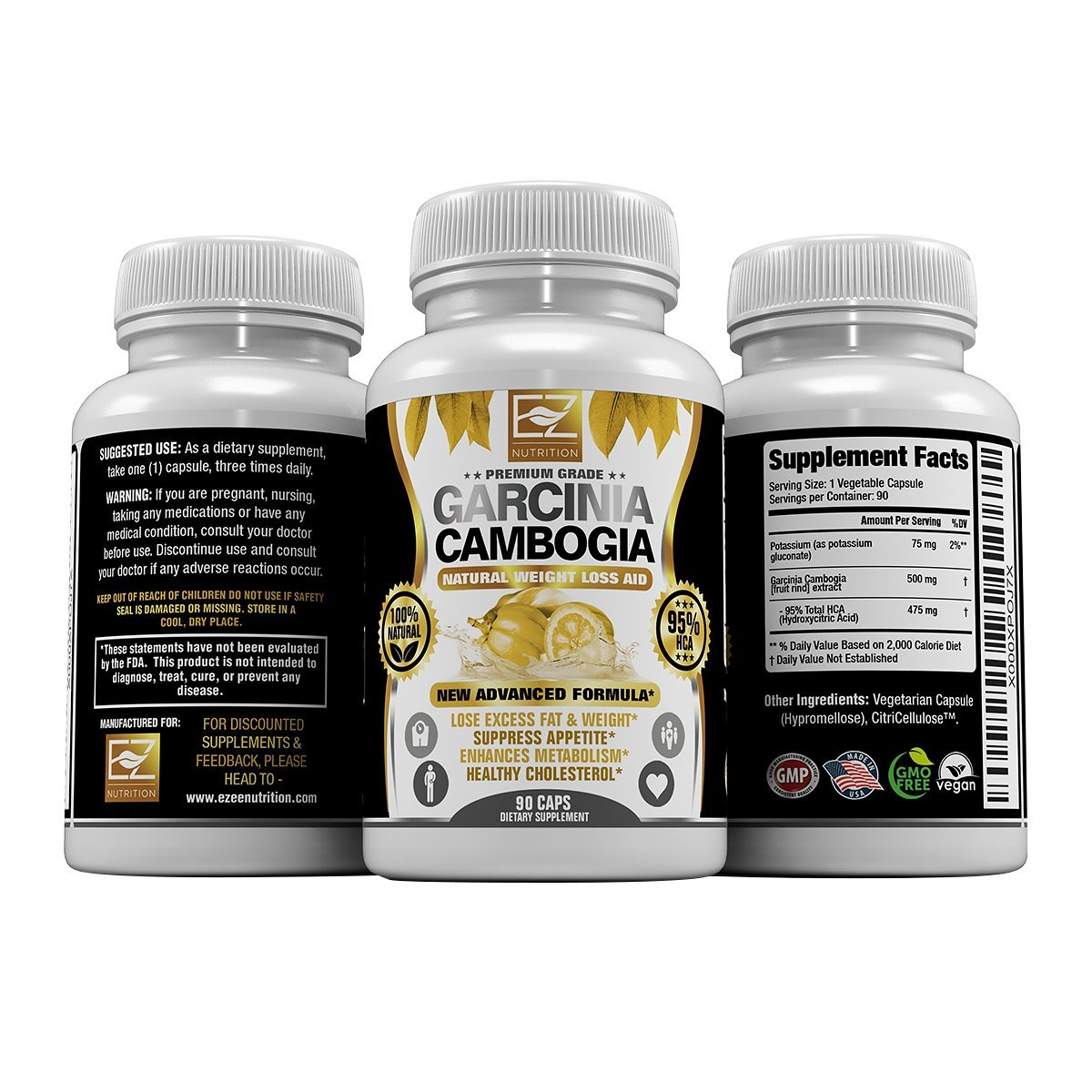 95% HCA Pure Premium Garcinia Cambogia Extract, Highest Potency Of Raw Diet Pills, Extreme Carb Blocker & Fat Burner Supplement for Fast Weight Loss, Fast Acting Appetite Suppressant