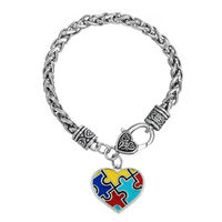 Classic Red Yellow Royal Blue & Turquoise Enameled Autism Jigsaw Puzzle Charm Bracelet
