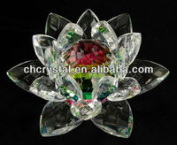 personalized crystal rainbow lotus , glass crystal flower fengshui gift MH-H0091