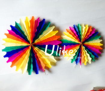 16 Inch Rainbow Paper Fan Decoration Tissue Decorations Window Displays