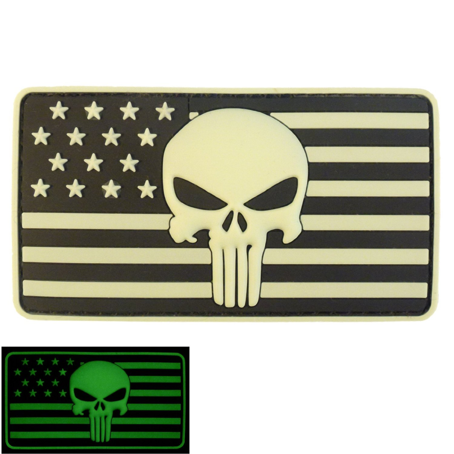 3D Glow GITD Punisher USA Flag PVC Rubber Touch Fastener Patch