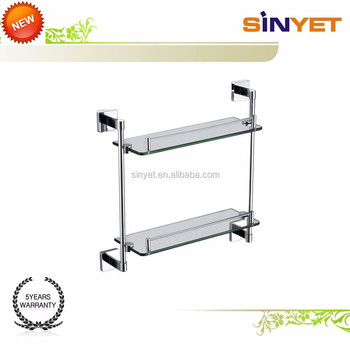 Square Modern Bathroom Shelf Lavatory Wall Mounted Chrome Plated ...