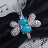 PES Fashion Jewelry! Cabochon Turquoise Pave Set Diamond Dragonfly Ring (PES6-1887)
