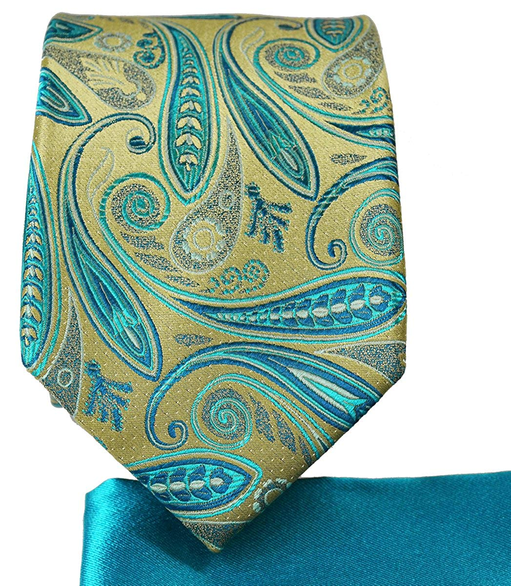 9177b7d34337 Get Quotations · Gold and Turquoise 7-fold Silk Tie and Pocket Square