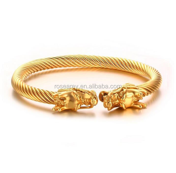 New Technology Cool Men Aggressiveness Stainless Steel Gold Dragon Head Bangle