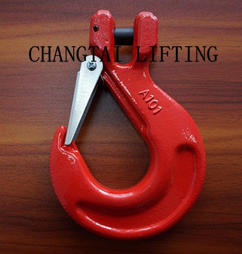 G80 clevis sling hook with safety latch,forged clevis safety lifting hook for chain