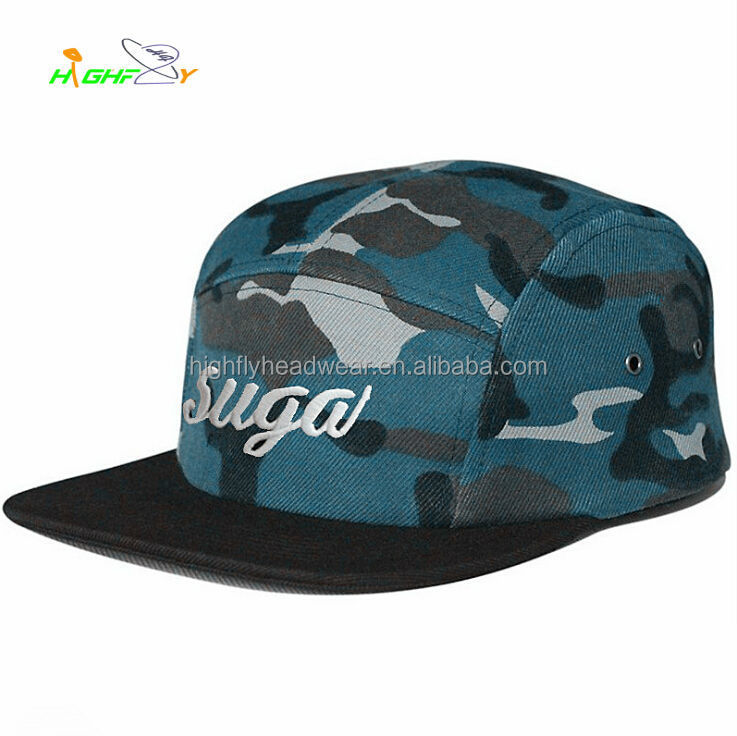 Custom High Quality Flat Brim Navy Camouflage Camper Caps And Hats Camping Hat With Embroidery Logo