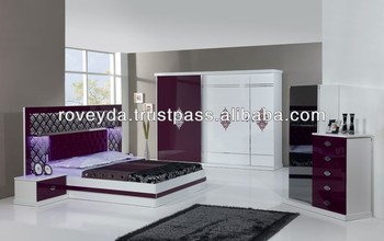 Mega Maroon Modern Bedroom Furniture Set