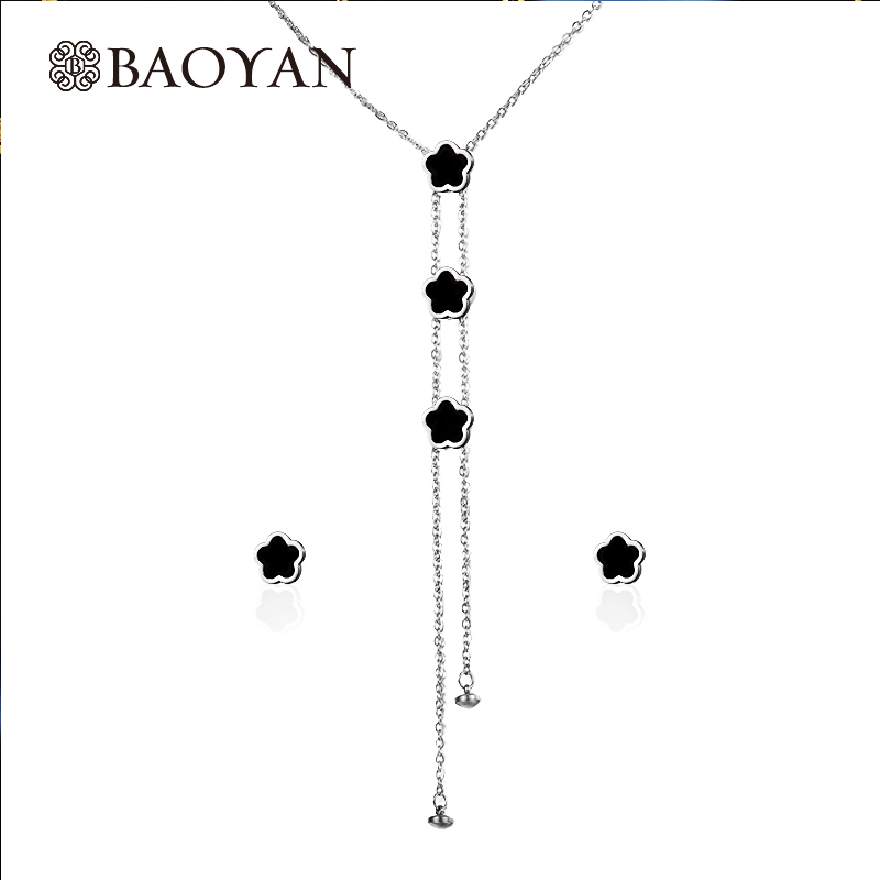 Baoyan 316L Stainless Steel Fashion Chic Ladies Silver Color Black Tassel Y Shaped Lariat Long Necklace joyeria acero inoxidable